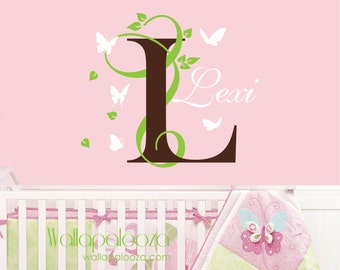 Butterfly and name wall decal - Nursery Wall Decal - Girls Room Wall decal - Name wall decal - Nursery Wall Decor  - butterfly wall decal