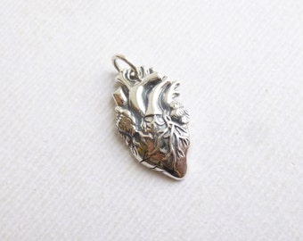 Sterling Silver Anatomical Heart Charm -- One Piece -- 925 Steampunk Pendant