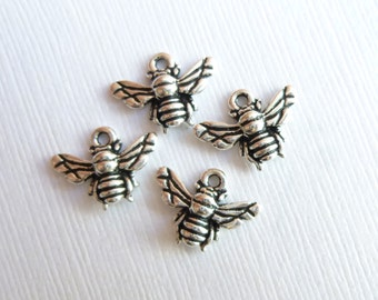 Antiqued Silver Larger Size Honey Bee Charms --  Pendants -- 4 pieces Pewter Tierracast Findings
