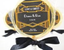 1920s Bee's Knees Gourmet Lollipops - Custom Label - Gin, Lemon, Honey - Great Gatsby Theme - 1920s Party Favors