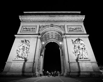 Arc De Triomphe at Night - Paris, France - 8x10 Print