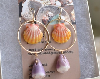 Ka Lā Cone Earrings- sunrise and cone shell hoop earrings