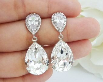 Wedding Jewelry Bridesmaid Gift Bridal Earrings Bridesmaid Jewelry Clear White Swarovski Crystal Tear Drop Earrings Cubic Zirconia Earrings