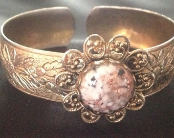 Vintage Western Flower Cuff Bracelet with Confetti Glass Cabochon
