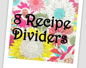 "8 Recipe Dividers - 4 1/2"" x 6"" Recipe Cards, Chevron, Damask, Modern, Fun, Custom Recipe Dividers"