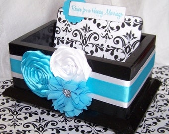 Bridal Shower Guest Box and Cards- Recipe for a Happy Marriage, Turquoise and Black, Black Gloss Box