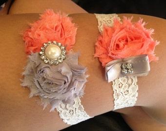 Pink Coral / Grey Wedding Garter Set - Ivory Stretch Lace - Rhinestone Detail...