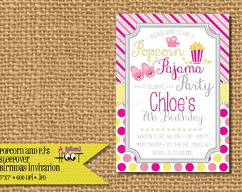Popcorn and Pajama Slumber Party/Sleepover/Spend the night Birthday Party Invitation (Personalized, DIY, 5X7 Printable)