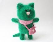 Knitted Mohair Kitten, Mohair Cat, Engagement ring bearer, Knitted cat, Stuffed toy,