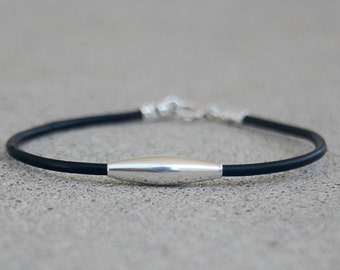Sterling Silver and Black Rubber Cord Bracelet,  Sterling Silver Bracelet