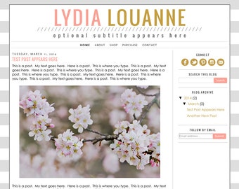 Blogger Template Premade Blog Design Theme - Lydia Louanne - INSTALLATION INCLUDED - Responsive, Simple, Pink, Gold, Grey, Stripes, Modern
