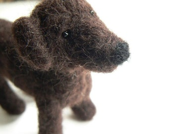 Labrador needle felted mini palm pet dog.