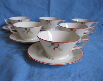 Deco Czech set of Six Cups and Saucers Bohemia Royal Ivory