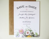 30x Wild Flower Wedding Save the Date with Kraft Envelope, 5x7 inches