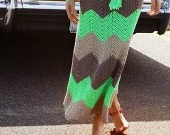 Crochet Skirt Long Skirt Gypsy Skirt ZigZag   Skirt To order   FREE SHIPPING