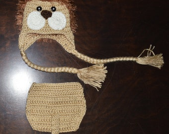 Crochet Lion Earflap Baby Beanie Hat & Diaper Cover Photo Prop Custom Made Boy Girl