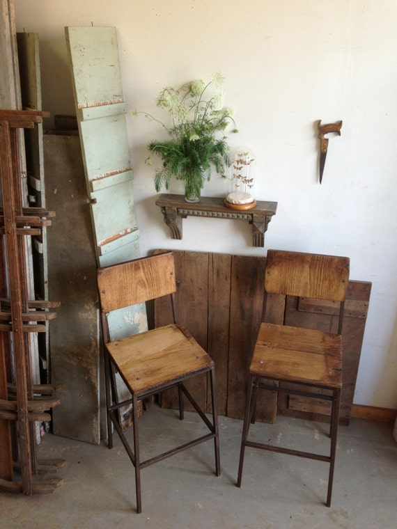Reclaimed Wood and Steel Bar Stools Chairs Pallet