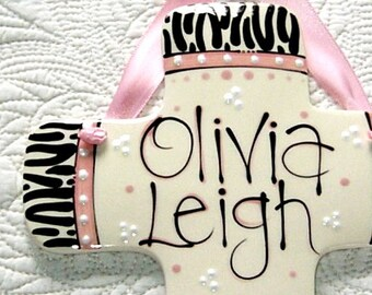 Personalized Decorative Cross for Girls in Zebra Print and Pink