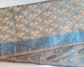 Vintage Poly Silk  Sari with Double Side Border  in Beige / Cream and Blue  Color