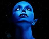 """SALE 8x10 fine art print, """"Kepler-22b"""" alien art, alien painting, extraterrestrial, sci fi art, sci fi painting, sci fi alien art, space art"""