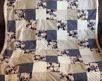 Large Pug Themed Lap Quilt - Pug Quilt - Pug Blanket