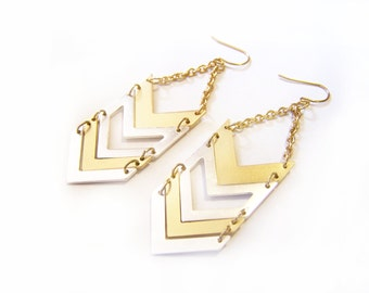 Silver and Gold Chevron Dangle Earrings / Gift for Her