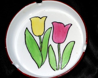 Spring Tulips Cat Dish White Ceramic Ashtray, Candy or Trinket Dish  - Loot By Louise