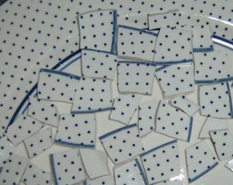 Mosaic Tiles, Hand Cut Tiles, Blue and White Polkadots.  Mosaic Supplies,