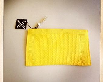 yellow raffia clutch woven 80s NOS Shirl Miller Ltd purse vintage