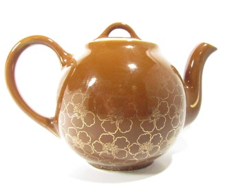 Vintage Hall Teapot French Flower 8 Cup In Brown and Gold, tea kettle
