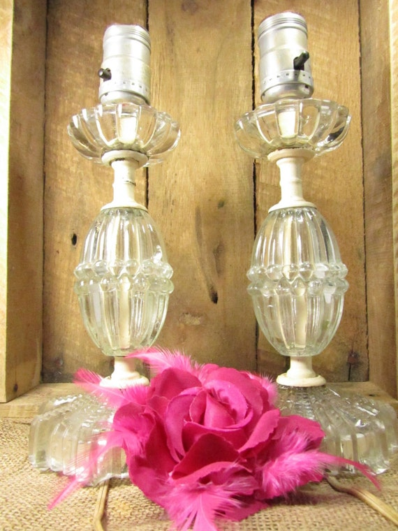shabby chic lamps vintage crystal lamps by