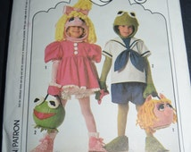 Simplicity 9346 Kids Miss Piggy and Kermit Costume Sewing Pattern - UNCUT - Sizes 2 - 8