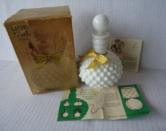 Vintage Milk Glass Wrisley Hob Nail Perfume Bottle, Lily Of The Valley Cologne, Bottle Lamp, 1960s