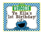 Cookie Monster / Sesame Street Inspired Birthday Welcome Sign- Customized Digital File