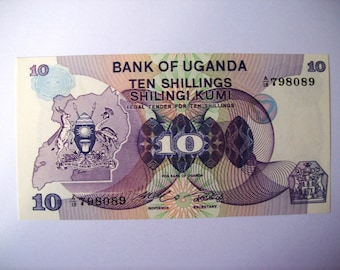 Vintage Uganda 10 shillings  banknote . Elephants, hippos, gazelles. Coat of Arms.Not  circulated. art.9429.  banknote, for very collectors.