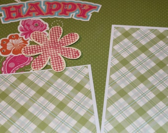 12 x12 floral premade single scrapbook page layout