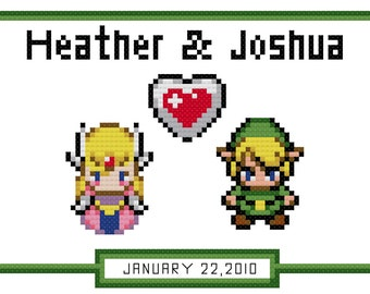 Link & Zelda Couples Anniversary Cross Stitch Pattern (PDF)