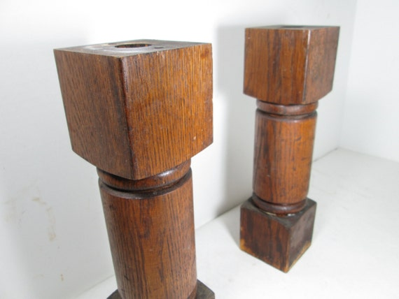 Wood Posts Chunky Wood Supports Set Of Two