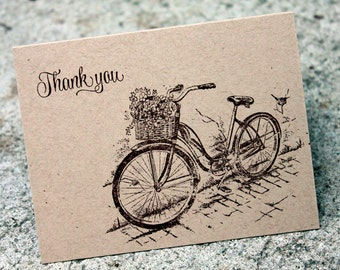 Bike Thank You cards, Rustic Thank you card set, Thank you note, Kraft Thank you notes, Kraft Thank you cards, Bike Thank you set of 5