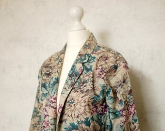VTG 80s women floral pattern cotton blazer