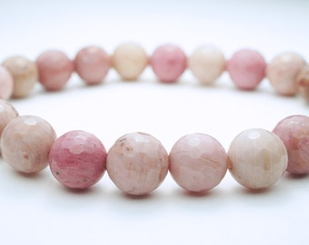 Rhodonite Natural Stone Bracelet . Faceted Rhodonite . Natural Stone . Pink