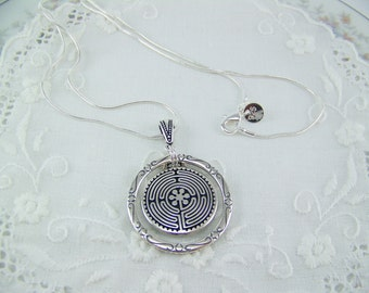 Labyrinth Necklace, Circle of Life Necklace, Ancient Necklace, Maze Necklace, Silver Labyrinth, Journey Necklace, Compass