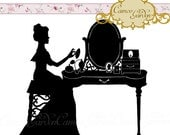 Digital Clipart - Silhouette Dainty Dressing Table - Clip art for scrapbooking, Engagement party invitations, Instant Download