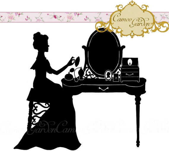 Digital Clipart Silhouette Dainty Dressing Table Clip art