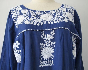 Mexican Embroidered Dress Cotton Tunic In Blue, Boho Dress