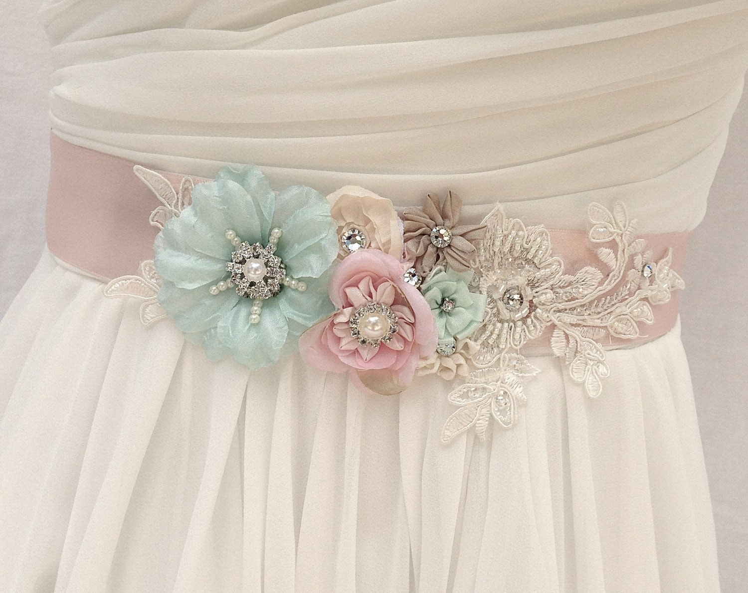 Bridal sash wedding sash in blush pink ivory and mint with for Ivory wedding dress sash