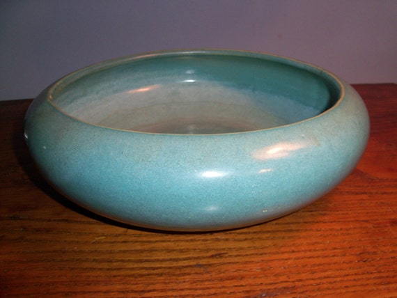 Large heavy teal modern centerpiece ceramic bowl