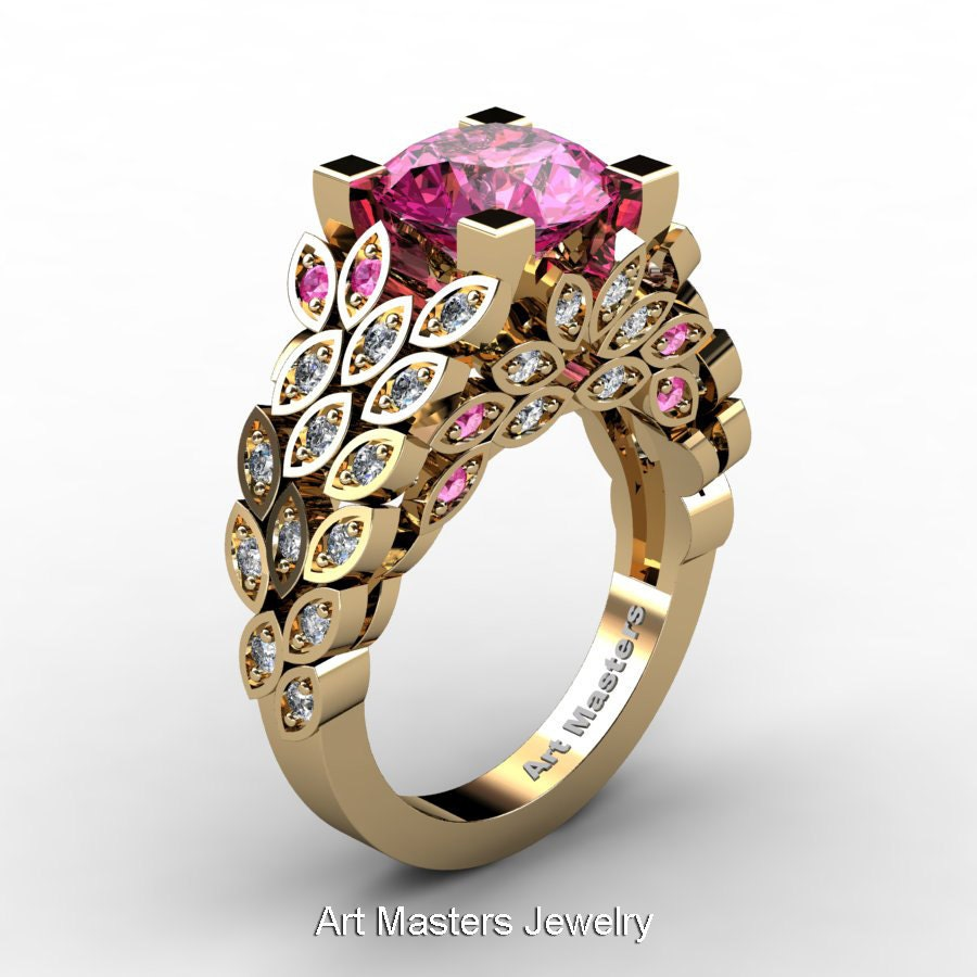 Art Masters Nature Inspired 14k Yellow Gold 3 0 Ct Pink