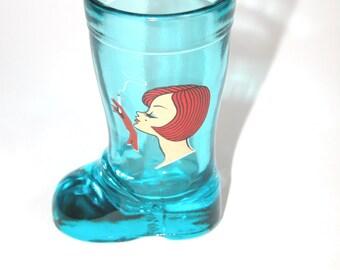 Rare Vintage Mod Dep Blue Boot Shot Glass Smoking Girl