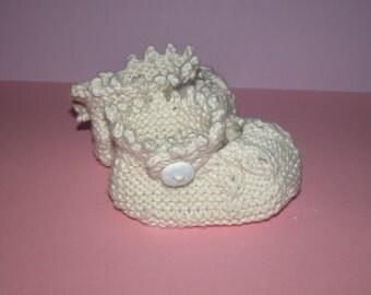 Hand Knitted Baby Booties  (Cream Mary Jane)
